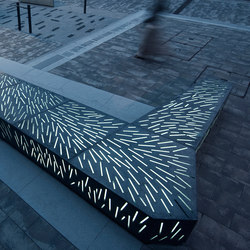 Glass concrete bench