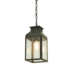 0277 Pendant Lantern, Weathered Brass, Clear Glass