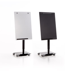 Electrically height-adjustable, mobile flipchart flipper