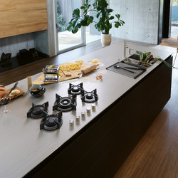 Customized Stainless Steel Worktop With Integrated Gas Hob