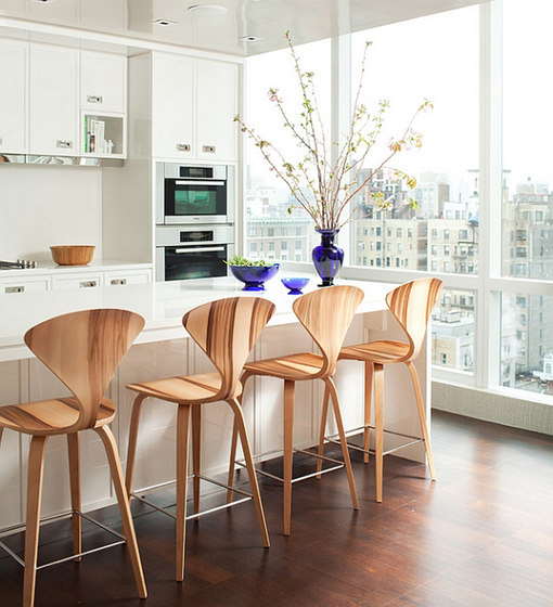 Cherner Wood Base Stools by Cherner