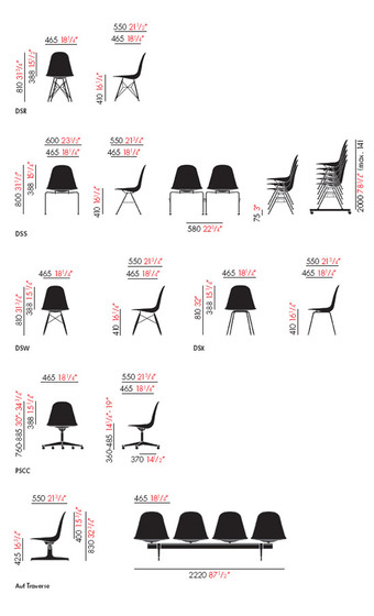 Eames plastic side chair di vitra dsr dsw dsx prodotto for Sedute dwg