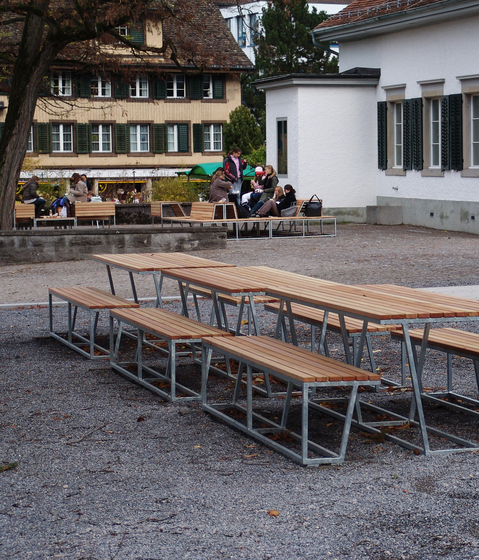 Landscape bench with backrest HPL by BURRI