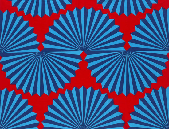 Forma red/blue interior fabric by Marimekko