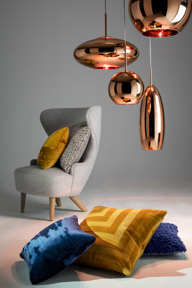Copper Round Pendant 45cm Blue by Tom Dixon