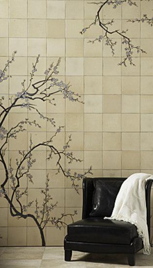 Sakura By Ann Sacks Winter Bamboo Mural Falling Leaves