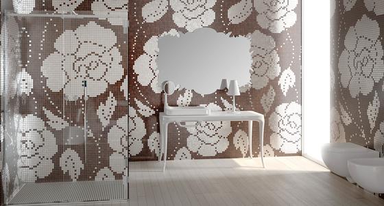 Winter Flowers Oro Bianco mosaic von Bisazza