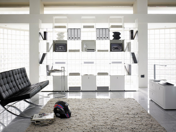 cWave | Bookcases with 3 drawers H 2223 mm by Dieffebi