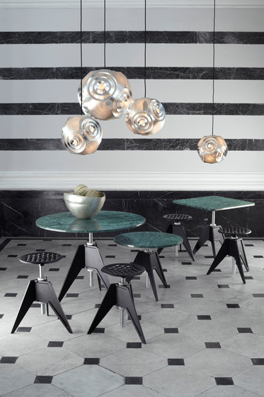 Screw Cafe Table Black Oak Top 600mm by Tom Dixon