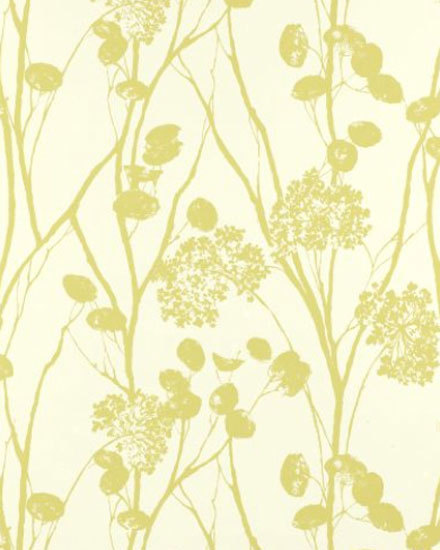 Moonpennies Soft Chartreuse wallcovering di F. Schumacher & Co.