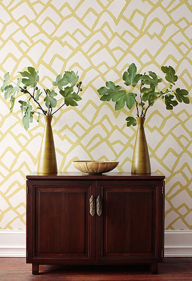 Zimba Soft Chartreuse wallcovering de F. Schumacher & Co.