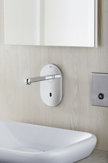 Euroeco Cosmopolitan E Infra-red electronic wall basin tap without mixing device by GROHE