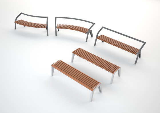 brunea | Park bench with backrest and armrests by mmcité