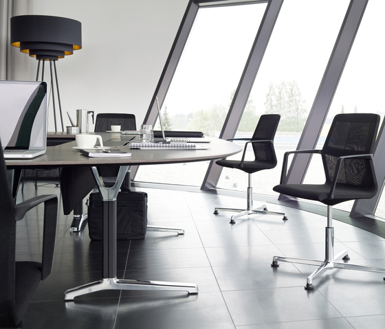 pulse conference table configuration with x-leg base by Wiesner-Hager