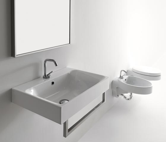 Cento Deep washbasin + towel holder by Kerasan