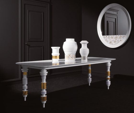Engine black table by Bisazza