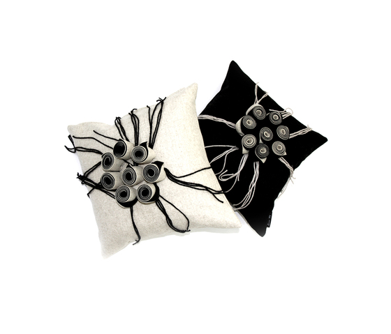 New Anais cushion ecru viola by Poemo Design