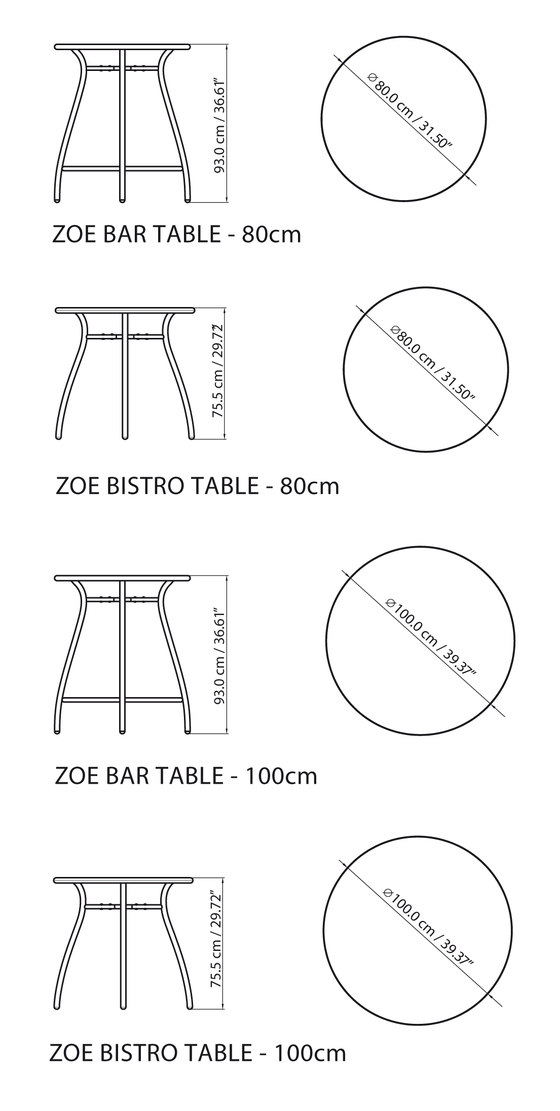 Zoe Bistro Table de steve & james