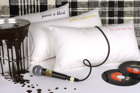 Sing a song cushion Paint it Black by Chiccham