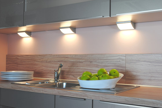 DK 3 halogen   Halogen Under-Cabinet Luminaire with Curved Glass Shade by Hera