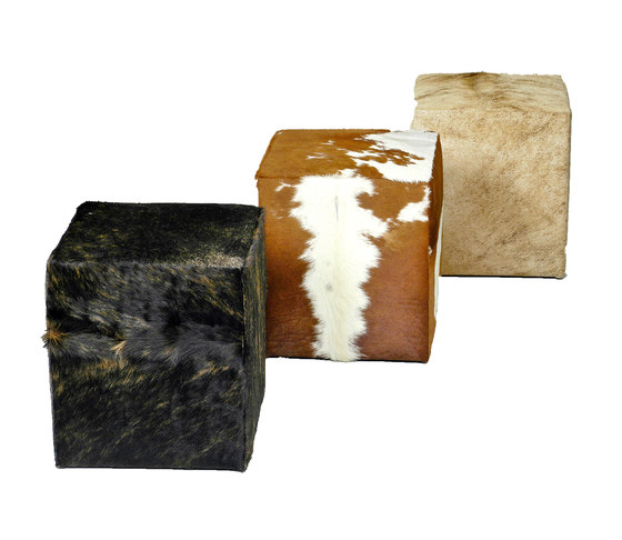 Seating cube from cowhide by KURTH Manufaktur