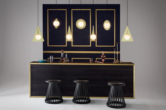 Fan Table Black Base Black Oak Top 600mm by Tom Dixon