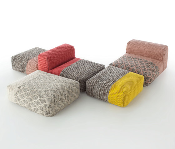 Mangas Space Pouf Square Plait Coral 2 di GAN