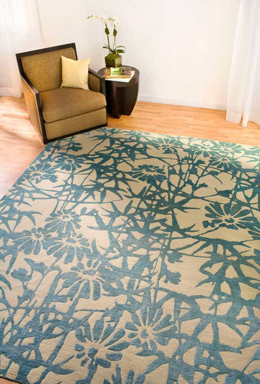 Bamboo Blossoms Blue by Emma Gardner Design