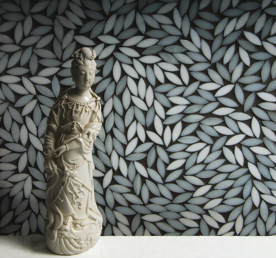Foliage Coltrane Cream Glass Mosaic by Artistic Tile