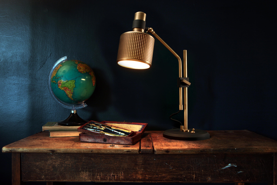 Riddle Table Lamp White & Brass by Bert Frank