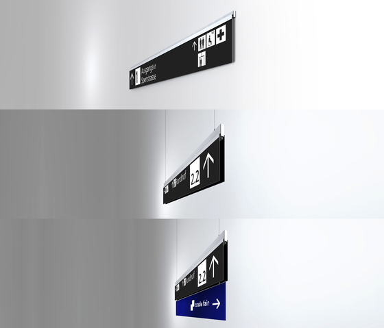 Signage System Messe Basel by BURRI – Mobile indoor F4 twin-sided stele by BURRI