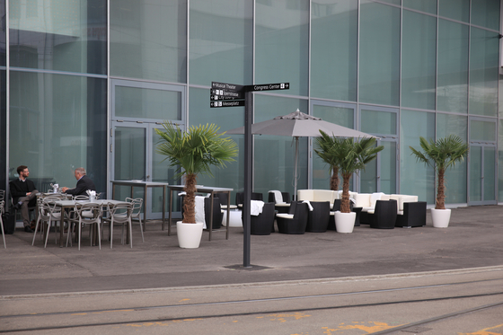 Signage System Messe Basel by BURRI – Signposts for outdoor areas by BURRI