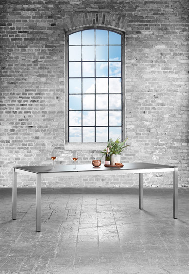 Classic Stainless Steel Ceramic Extension Table by solpuri