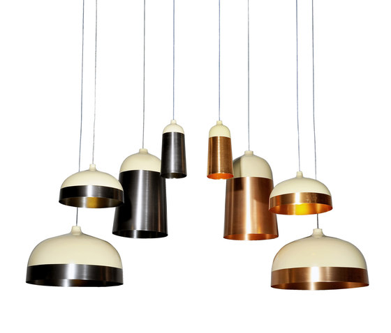 Glaze Pendant Lamp 33 Cream & Copper by Innermost