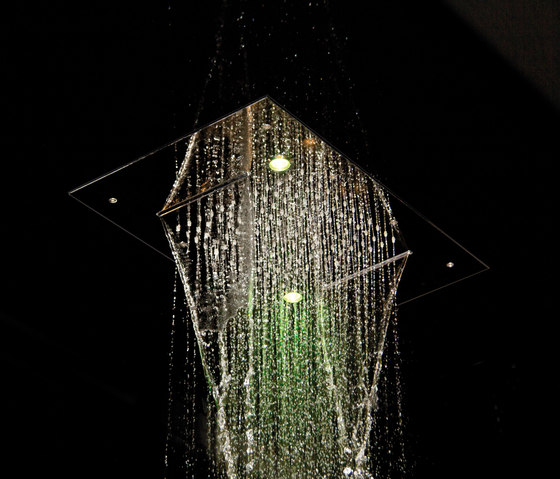 Harmonia F2904 | Ceiling mounted stainless steel showerhead with rain flow, 2 cascade, cromotherapy and audio by Fima Carlo Frattini