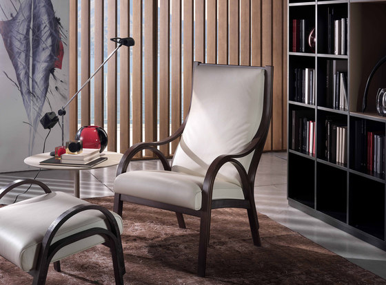 Cavour Armchair with Footstool by Poltrona Frau