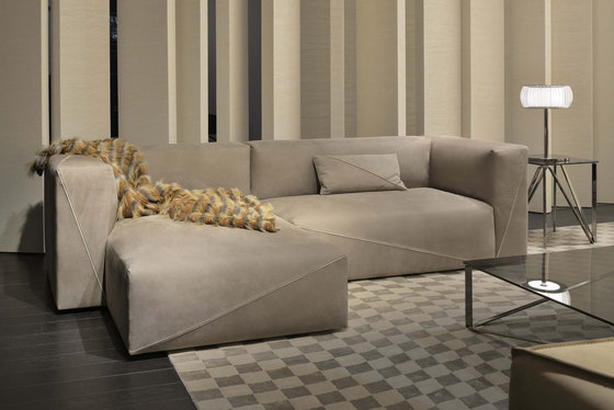 Diagonal sectional sofa by Fendi Casa