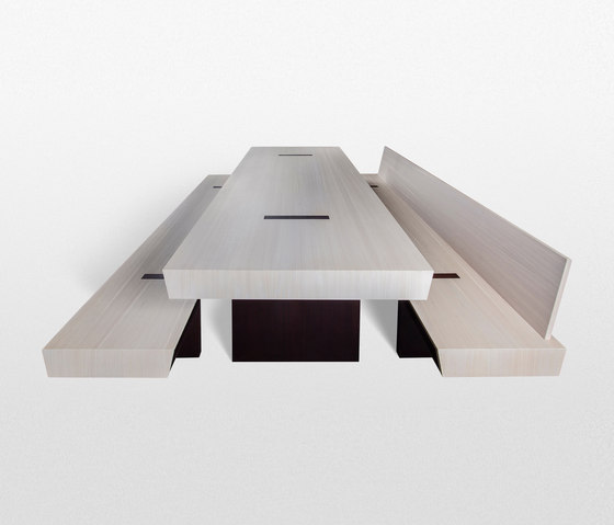 Double Table with benches by Trentino Wood & Design