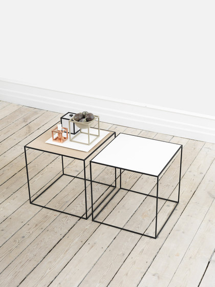 Twin Table black-stained ash/copper by by Lassen