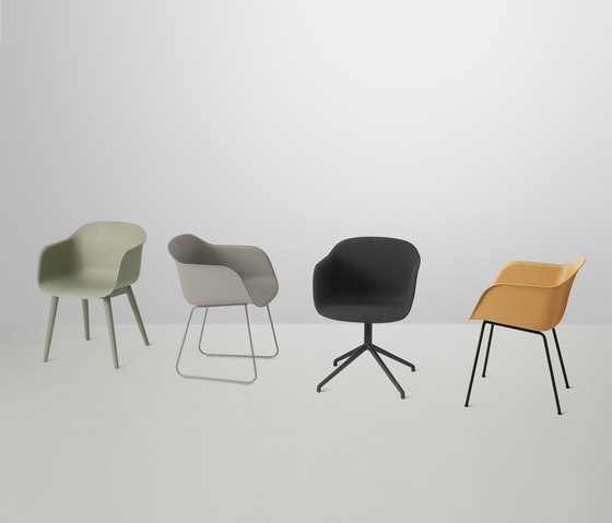 Fiber Armchair | tube base upholstered by Muuto
