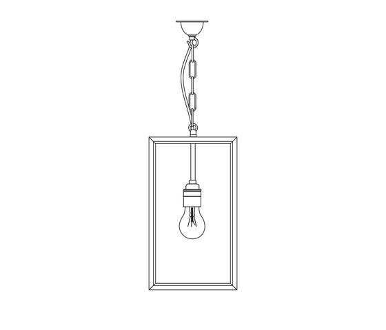 7639 Small Square Pendant, External Glass, Weathered Brass, Clear Glass de Original BTC