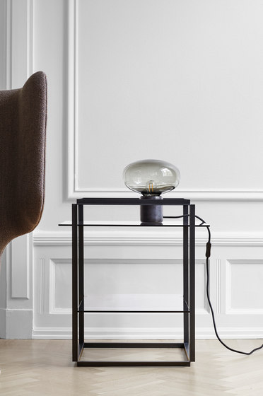 Karl-Johann Table Lamp Black Marquina w. Smoked Glass by NEW WORKS