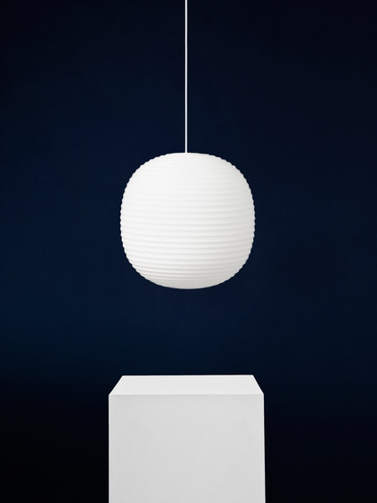Lantern Pendant Frosted White Opal Glass | Medium by NEW WORKS