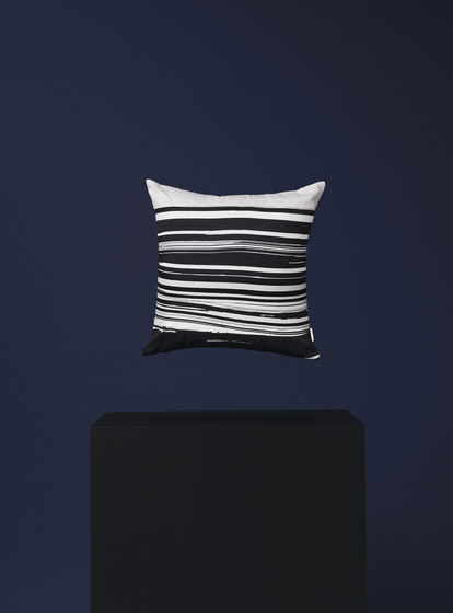 Wave & Brush Cushion Black by NEW WORKS