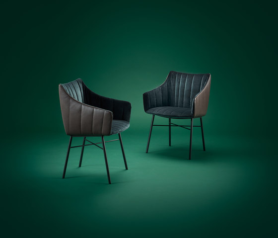 Rubie | Armchair High with wooden support frame by FREIFRAU MANUFAKTUR