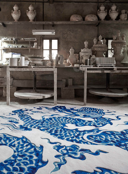 Blue China Rug White 2 by GAN