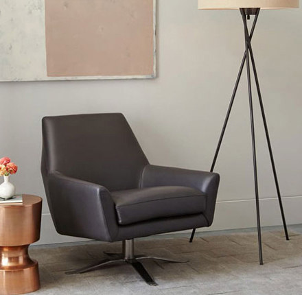 Lucas Leather Swivel Base Chair By Distributed Williams Sonoma