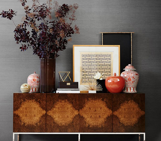 Wythe Burled Wood Double Console de Distributed by Williams-Sonoma, Inc. TO THE TRADE