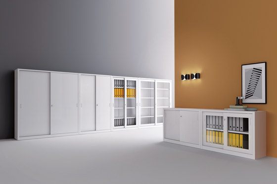 Tempered glass sliding door cabinet | W 1200 H 880 mm by Dieffebi