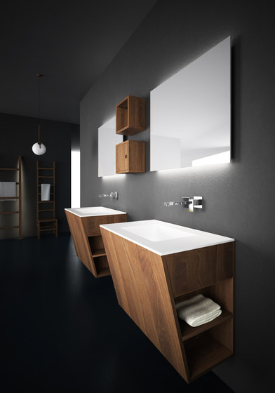 Root hanging cabinet 4 racks integrated washbasin de Idi Studio